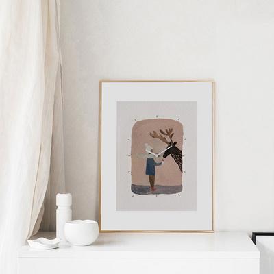 벽걸이 액자시계 사슴소녀 골드프레임 30x40