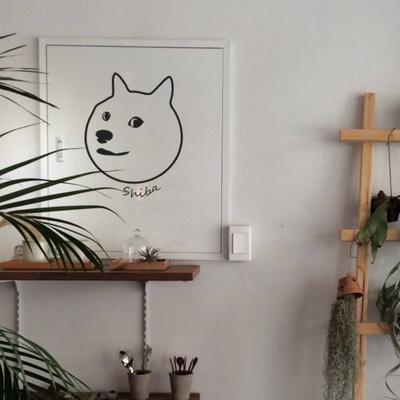 인테리어 월데코 애완 시바견 캐릭터 시트지 감성 스티커