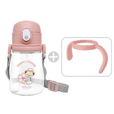 테디베어 프렌즈 트라이탄 빨대컵 360ml 핑크 / 목걸이 물병 양손잡이 물병