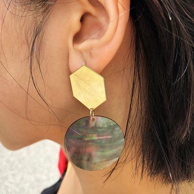육각 자개링 귀걸이