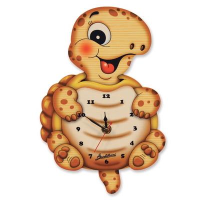 거북이 원목 벽 시계