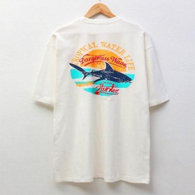 남자 빈티지 상어 프린팅 라운드 반팔 티셔츠