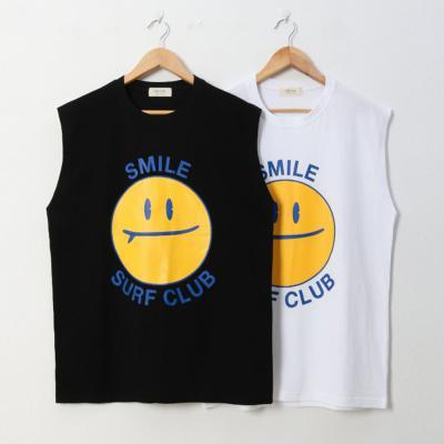 남자 20수 귀여운 빅 스마일 레터링 나시 티셔츠