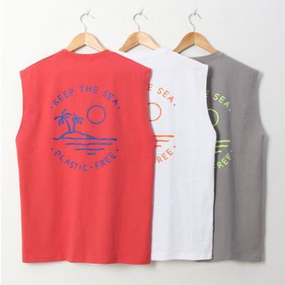 남자 10수 여름 바캉스 야자수 민소매 나시 티셔츠
