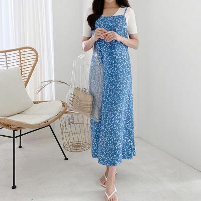 여자 잔 패턴 슬립웨어 끈 나시 여름 롱 원피스