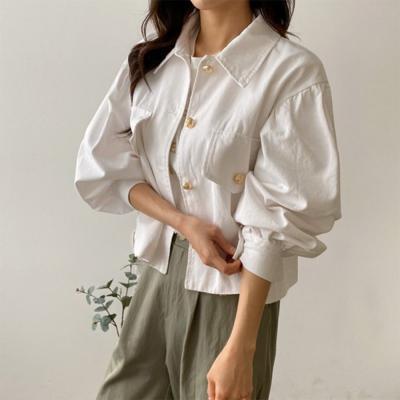 여자 봄 신상 크롭핏 금장 단추 빅 포켓 카라 퍼프 코튼 자켓