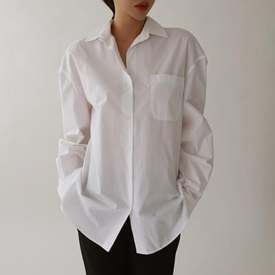 여자 카라넥 3컬러 코튼 면 기본 흰색 셔츠 남방