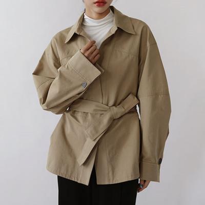 여자 벨티드 트렌치 싱글 카라넥 자켓