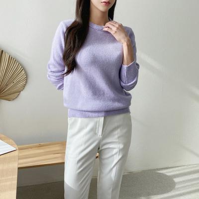 여자 라운드 스웨터 부드러운 캐시미어 니트 티셔츠