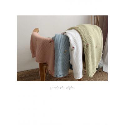 여자 가을 겨울 프릴 라운드 꽃 자수 니트 티셔츠