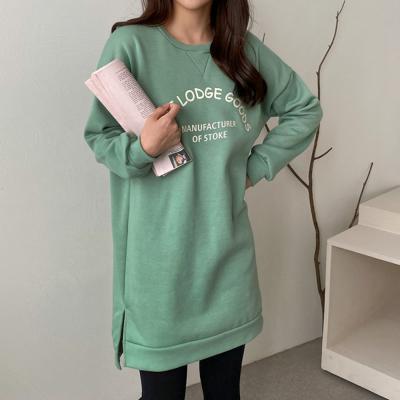 여자 가을 겨울 캐주얼 라운드 레터링 롱 티셔츠