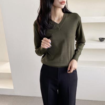 여자 가을 겨울 베이직 브이넥 스판 니트 티셔츠