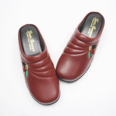 여자 중년 꽃 신발 따뜻한 기모 안감 통굽 슬리퍼