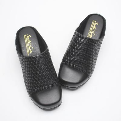 여자 중년 신발 합피 스퀘어 패턴 안감 기모 통굽 슬리퍼