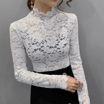 [1+1] 여자 시스루 로즈 장미 레이스 목폴라 티셔츠