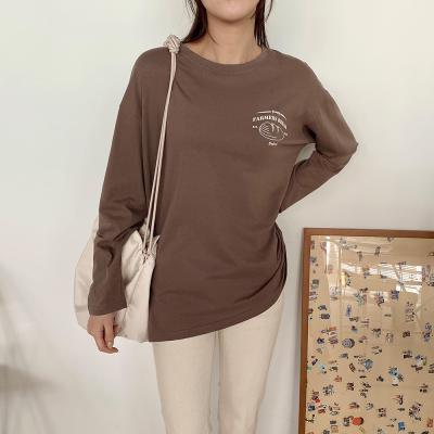 여자 가을 로고프린팅 면 긴팔 티셔츠