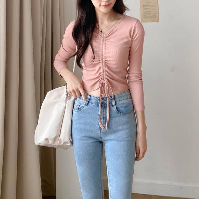 [1+1] 여자 가을 겨울 레이어드 골지 셔링 긴팔 티셔츠