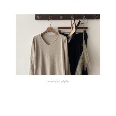 [1+1] 여성 봄 가을 간절기 메리 브이넥 긴소매 니트 티셔츠