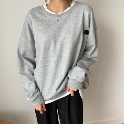 여자 간절기 데일리 라운드 패치 루즈핏 맨투맨 티셔츠