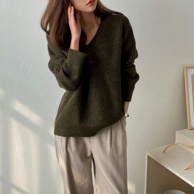 여자 브이넥 긴팔 오버핏 3컬러 가을 니트 티셔츠