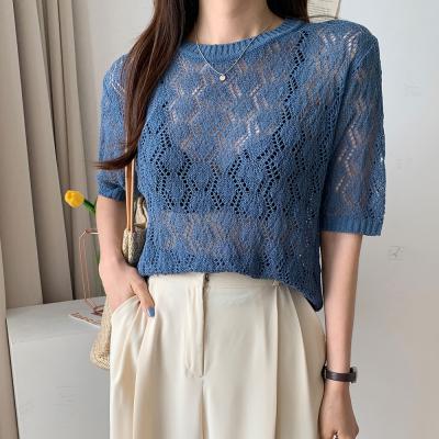 여자 여름 그물망사 라운드넥 시스루 니트 티셔츠