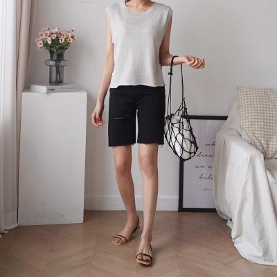 여자 여름 드롭숄더 루즈핏 민소매 기본 니트 티셔츠