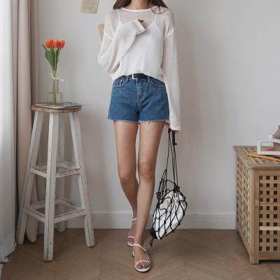 여자 여름 시스루 여리핏 라운드넥 니트 티셔츠