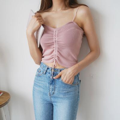 여자 여름 끈나시 크롭 세로 스트링 캐미 니트 티셔츠