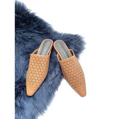 여자 가을 럭셔리 펀칭 뾰족코 가죽 블로퍼 뮬 신발