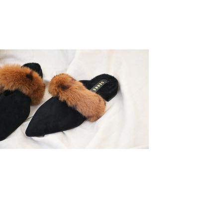 여자 가을 겨울 럭셔리 가죽 안감 털 블로퍼 신발