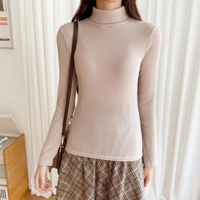 여자 가을 겨울 터틀넥 목폴라 골지 긴팔 티셔츠