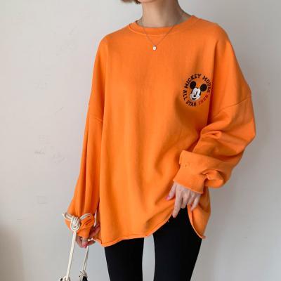 여자 가을 디즈니 정품 미키 숫자 레터링 박시 티셔츠