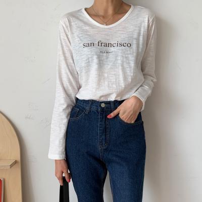 여자 가을 레터링 시스루 슬럽 데일리 긴팔 티셔츠