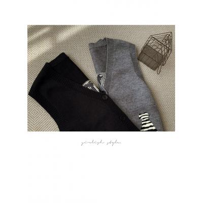 여자 가을 겨울 브이넥 고양이 자수 니트 조끼 티셔츠