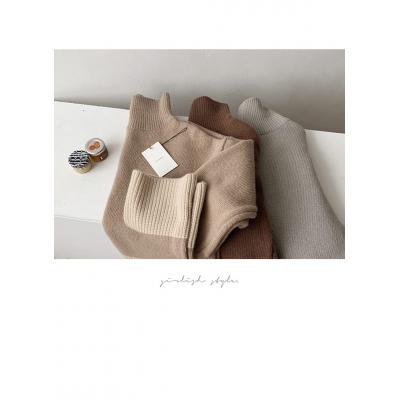여자 가을 겨울 터틀넥 울 캐시미어 목폴라 배색 니트 티셔츠