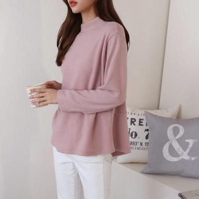 여자 겨울 스판 반목폴라 라운드넥 뒷트임 긴팔티셔츠