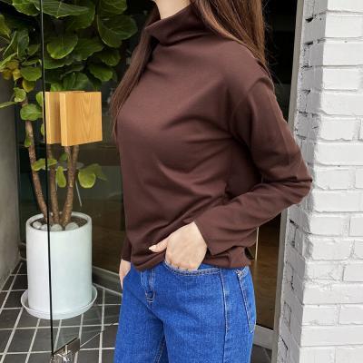 여자 가을 겨울 스판 하이넥 목폴라 긴팔 티셔츠