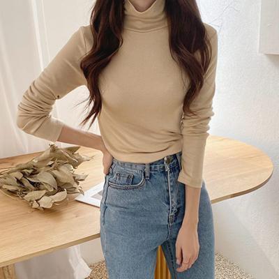 [1+1] 여자 가을 겨울 기모 면 비스코사 스판 폴라 티셔츠