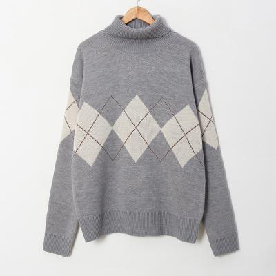 남자 캐주얼 오버핏 아가일 겨울 터틀넥 니트 스웨터