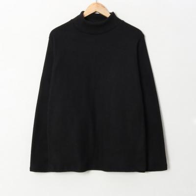 겨울 부들 베이직 기본 라운드 반폴라 티셔츠