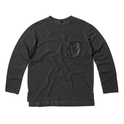 남자 기본핏 가죽포켓 포인트 긴팔 티셔츠