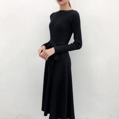 여성 블랙 하이웨스트 슬림핏 골지 니트 롱 원피스