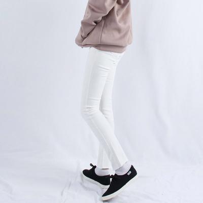 여자 겨울 양면 기모 밑단 헤짐 화이트 일자핏 팬츠