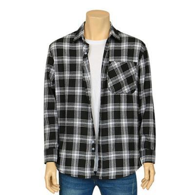남자 블랙&화이트 캐주얼 투톤 체크 셔츠 남방