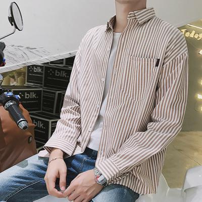 남자 댄디 대학생 캐주얼 스트라이프 셔츠 남방