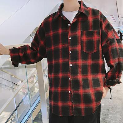 남자 대학생 스트릿 코디 그라데이션 체크 셔츠 남방