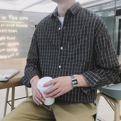 남자 20대 캐주얼 깔끔한 사각 체크 셔츠 남방