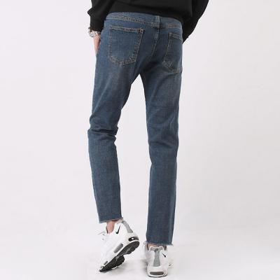 남자 무릎 밑단 커팅 구제 슬림 바이오 워싱 데님팬츠