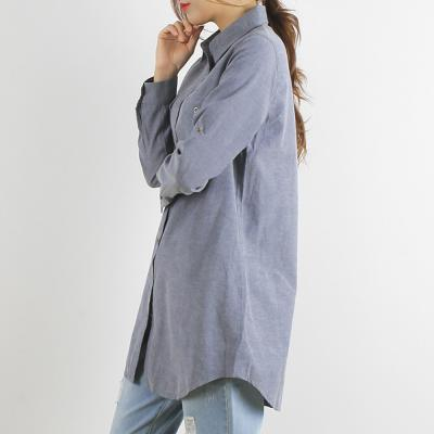 여성 봄 핑크 심플 베이직핏 이너 면 롱 셔츠 남방