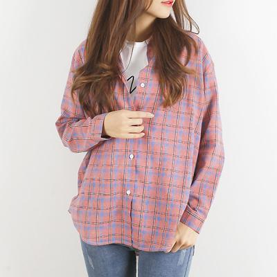여성 루즈핏 이너 아우터 블루 코튼 체크 셔츠 남방